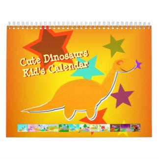 Cute Cartoon Dinosaurs Calendar for Kids