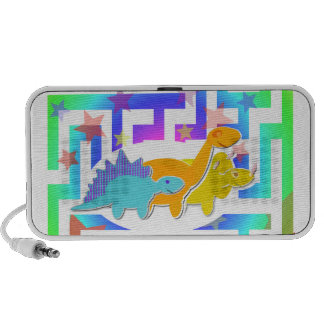 Cute Cartoon Dinosaurs in a Color Maze Portable Speakers