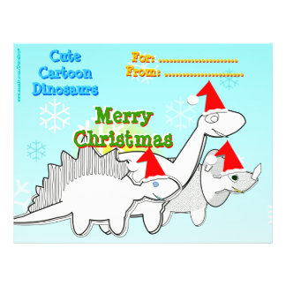 Cute Cartoon Dinosaurs Santa Hats Coloring Page Letterhead