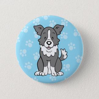 Cute Cartoon Dog Border Collie Button