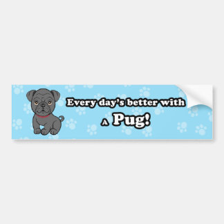 Cute Cartoon Dog Pug Bumper Sticker