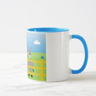 Cute cartoon donkeys blue ringer mug