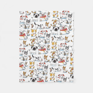 cute cartoon doodle dogs pattern fleece blanket