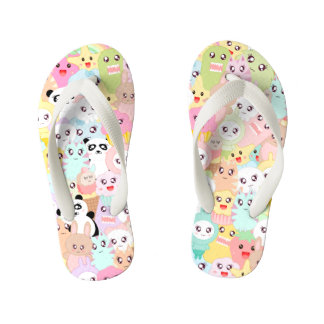 Cute cartoon doodles kid's flip flops