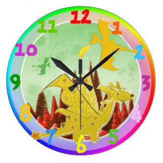 Cute Cartoon Dragon Rainbow Colors Large Clock
