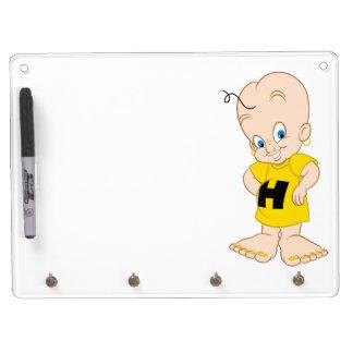 Cute cartoon dry board with keys dry erase white board