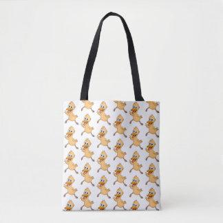 Cute cartoon ducks on a tote bag.