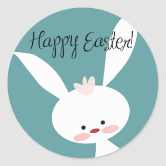 Cute Cartoon Easter Bunny Happy Easter Stickers