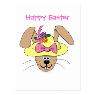 Cute Cartoon Easter Bunny in A Bonnet Postcard