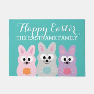 Cute Cartoon Easter Bunny with Custom Name Doormat