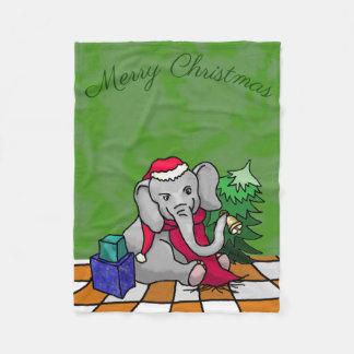 "Cute Cartoon Elephant ""Merry Christmas"" Fleece Blanket"