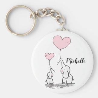 Cute cartoon elephants holding pink balloons name keychain