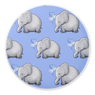 Cute Cartoon Elephants Pattern Baby Boy Nursery Ceramic Knob