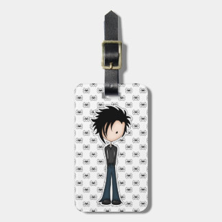 Cute Cartoon Emo Boy with Black Spikey Hair Luggage Tag