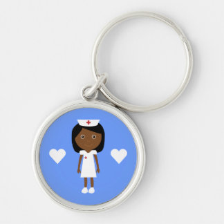 Cute Cartoon Ethnic Nurse & Hearts Customizable Silver-Colored Round Keychain