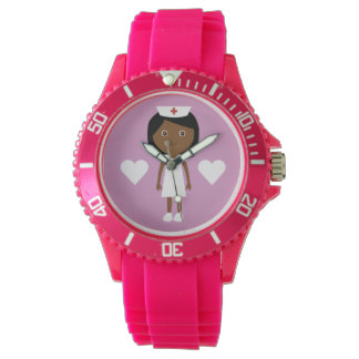Cute Cartoon Ethnic Nurse & Hearts Pink Watch