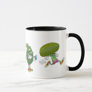 Cute cartoon exercising healthy food, on a mug. mug