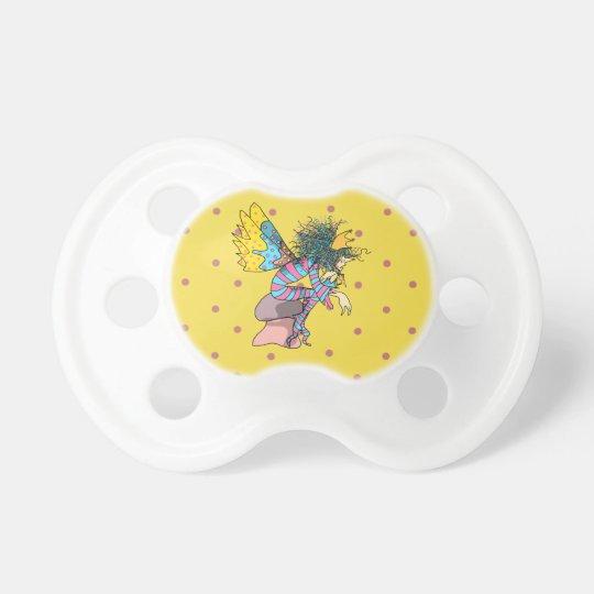 Cute Cartoon Fairy Male Polka Dots Yellow Baby Pacifier