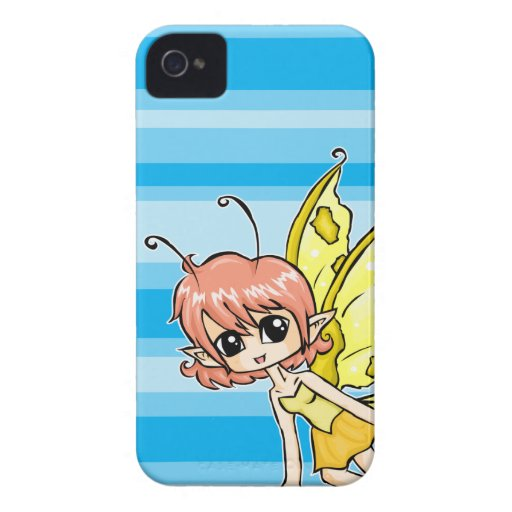 Cute cartoon fairy with yellow wings blackberry case