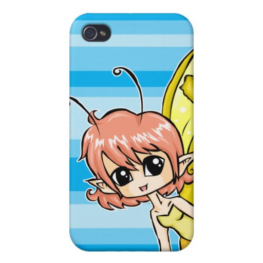 Cute cartoon fairy with yellow wings cases for iPhone 4