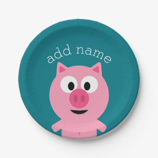 Cute Cartoon Farm Pig - Pick Your Background Color 7 Inch Paper Plate