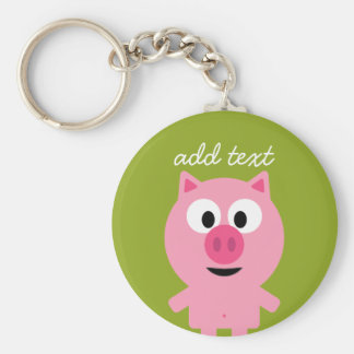 Cute Cartoon Farm Pig - Pink and Lime Green Basic Round Button Keychain