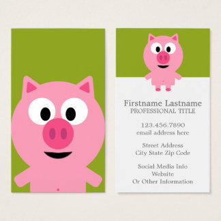 Cute Cartoon Farm Pig - Pink and Lime Green Business Card