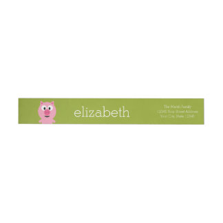 Cute Cartoon Farm Pig - Pink and Lime Green Wraparound Return Address Label