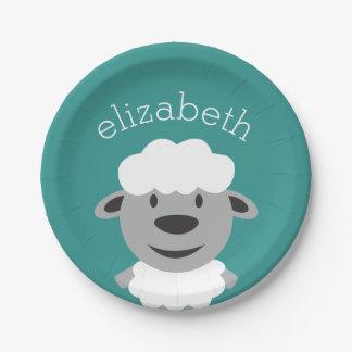Cute Cartoon Farm Sheep - Teal and gray Paper Plate