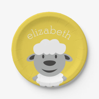 Cute Cartoon Farm Sheep - yellow and gray 7 Inch Paper Plate