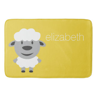 Cute Cartoon Farm Sheep - yellow and gray Bathroom Mat
