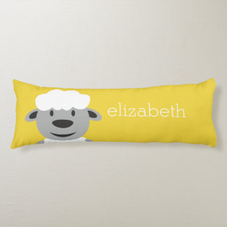 Cute Cartoon Farm Sheep - yellow and gray Body Pillow