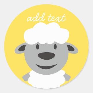Cute Cartoon Farm Sheep - yellow and gray Round Sticker
