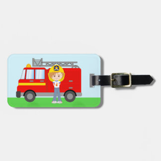 Cute Cartoon Firefighter Boy and Red Fire Truck Luggage Tag