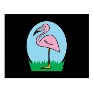 cute cartoon flamingo postcards