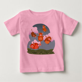 Cute Cartoon Floating Highland Cows Baby T-Shirt