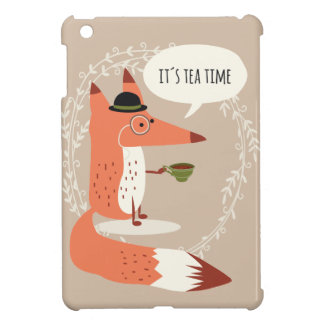 Cute cartoon fox having tea time case for the iPad mini