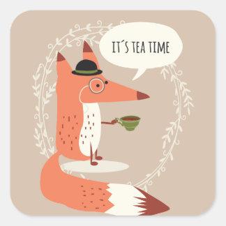 Cute cartoon fox having tea time square sticker