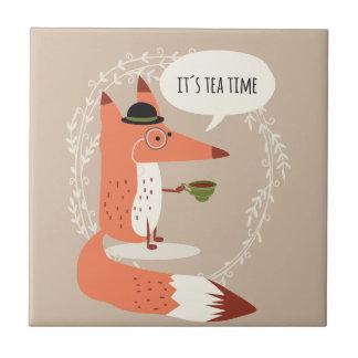 Cute cartoon fox having tea time tile