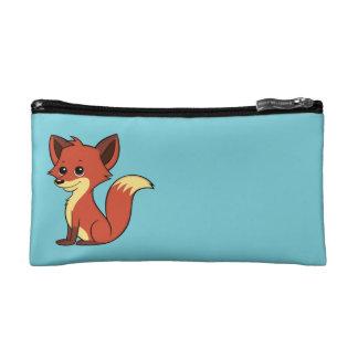 Cute Cartoon Fox Light Blue Cosmetic Bag