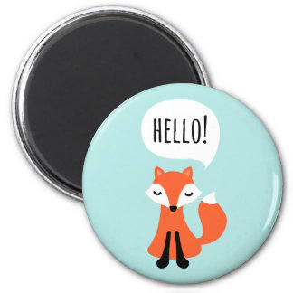 Cute cartoon fox on blue background saying hello magnet