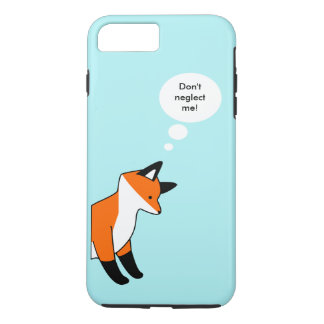 Cute cartoon fox on blue background saying quote iPhone 7 plus case