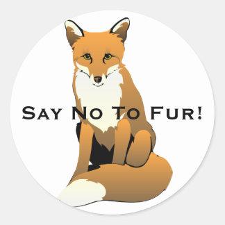 Cute Cartoon Fox Sitting On Ground Round Sticker