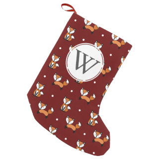 Cute Cartoon Foxes White Polka Dots Personalized Small Christmas Stocking