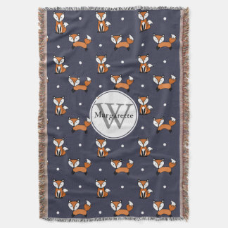 Cute Cartoon Foxes White Polka Dots Personalized Throw Blanket