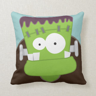 Cute Cartoon Frankenstein Monster Throw Pillow