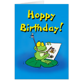 Cute cartoon frog birthday card