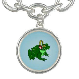 Cute Cartoon Frog Wearing Headphones Bracelets