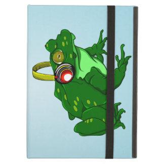 Cute Cartoon Frog Wearing Headphones iPad Air Cases