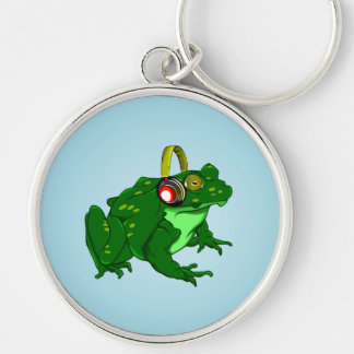 Cute Cartoon Frog Wearing Headphones Silver-Colored Round Keychain